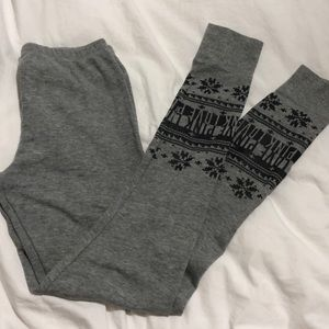 PINK sleep pants, thermal, with snowflakes, grey